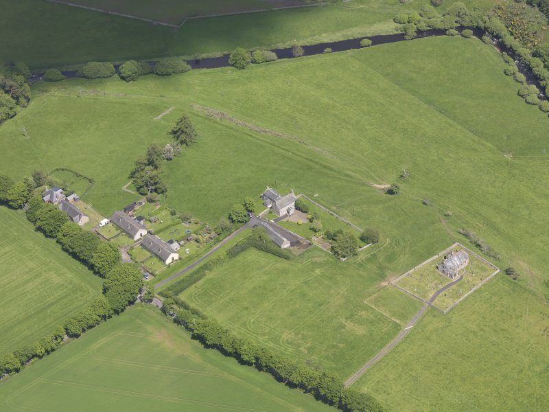 Oblique aerial view of Cranshaws Parish Church, taken from the SW.
