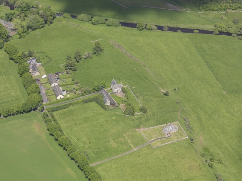 Oblique aerial view of Cranshaws Parish Church, taken from the SSW.