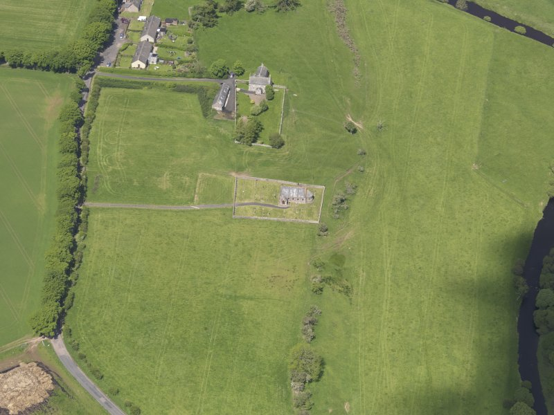 Oblique aerial view of Cranshaws Parish Church, taken from the SSE.
