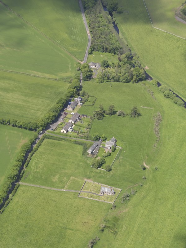 General oblique aerial view of Cranshaws Parish Church, taken from the SE.