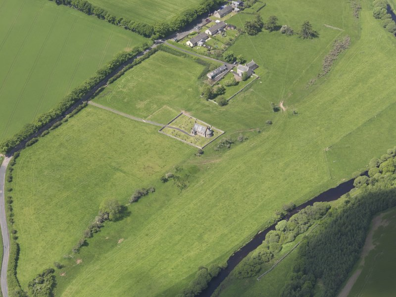 Oblique aerial view of Cranshaws Parish Church, taken from the SE.
