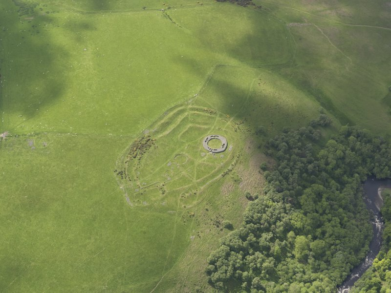 Oblique aerial view of Edin's Hall Broch, taken from the ENE.
