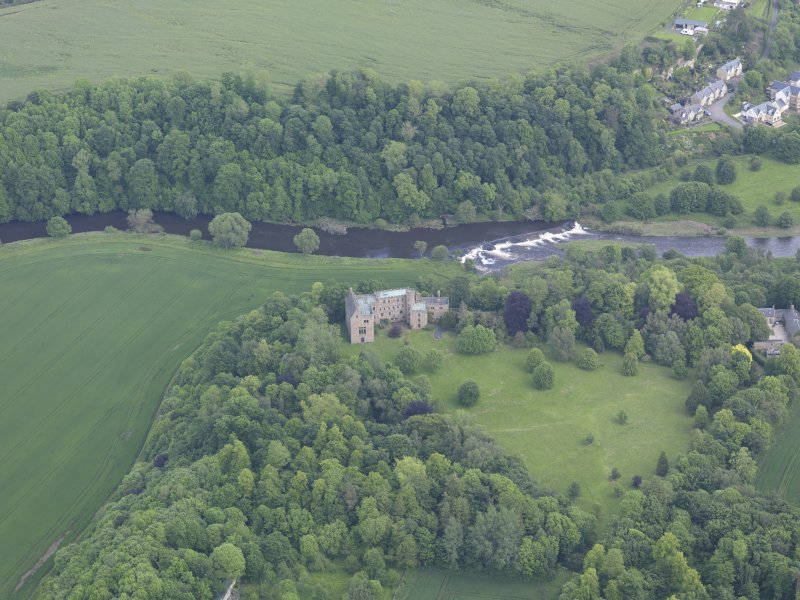 Oblique aerial view of Hutton Castle, taken from the WSW.