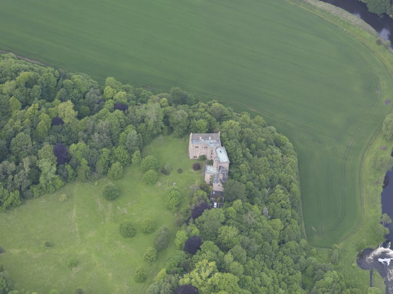 Oblique aerial view of Hutton Castle, taken from the SSE.