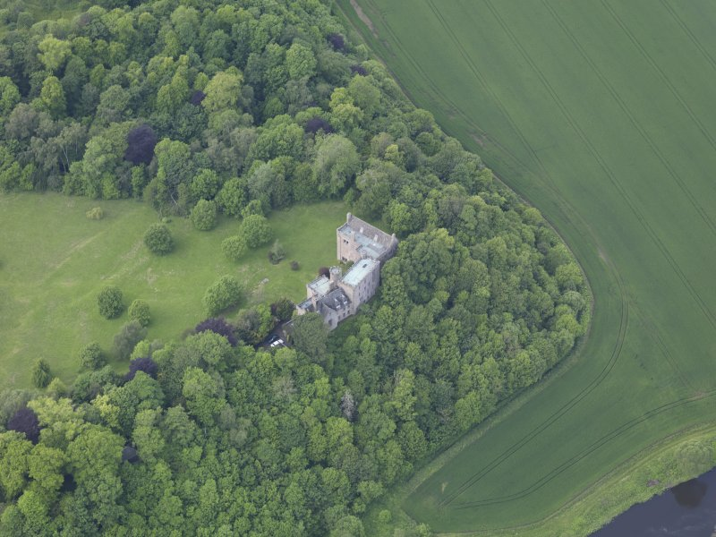 Oblique aerial view of Hutton Castle, taken from the ESE.