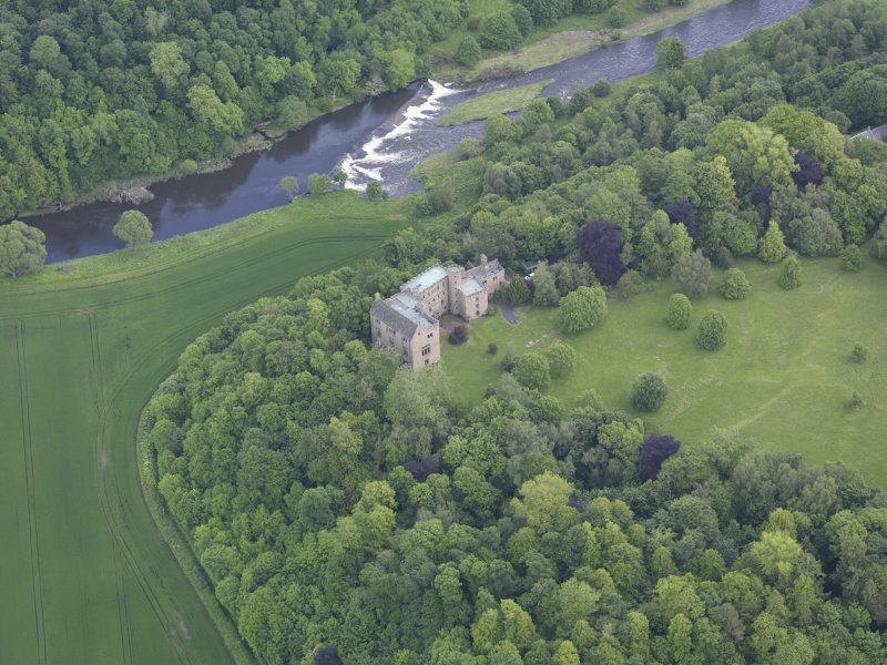 Oblique aerial view of Hutton Castle, taken from the W.