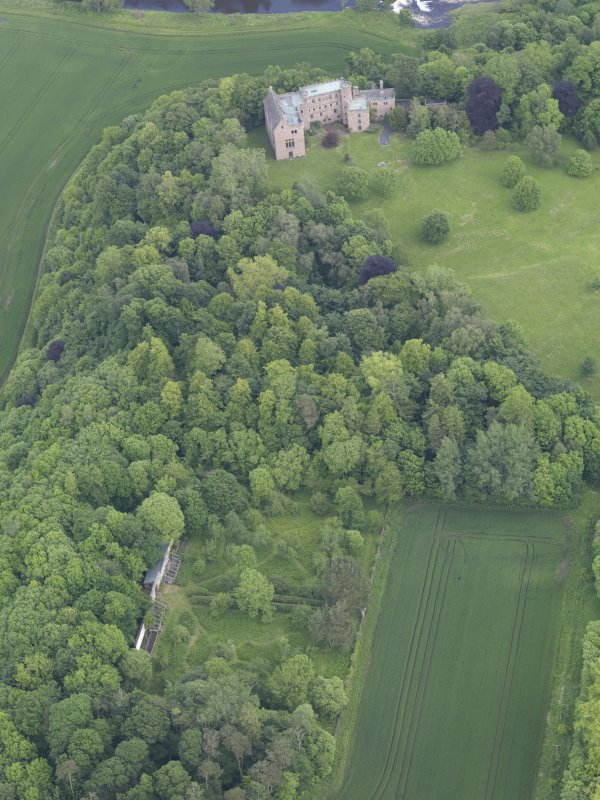 Oblique aerial view of Hutton Castle, taken from the SW.