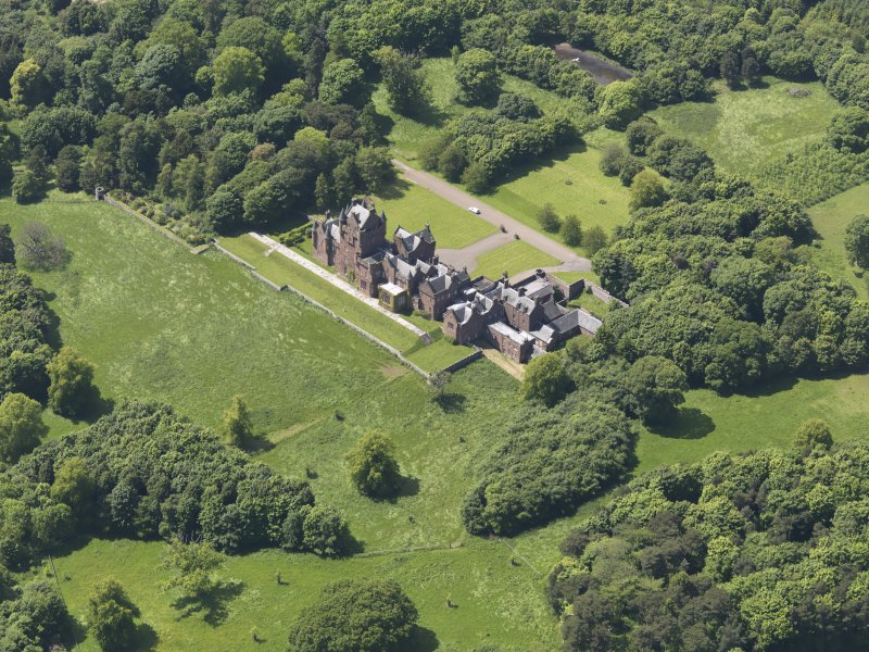 Oblique aerial view of Ayton Castle, taken from the ESE.