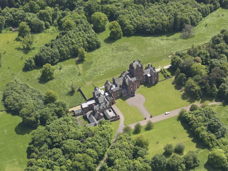 Oblique aerial view of Ayton Castle, taken from the NW.