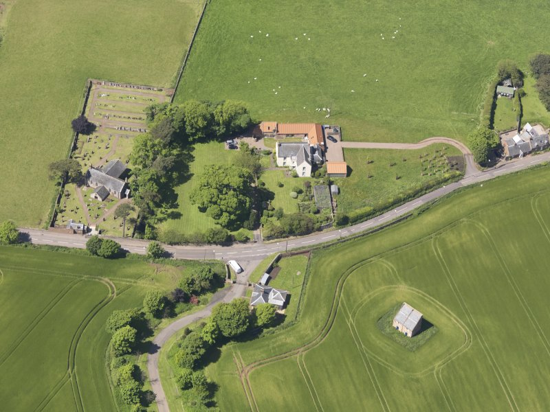 Oblique aerial view of Spott House Dovecot, taken from the SE.