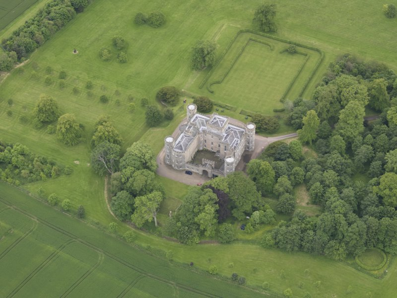 Oblique aerial view of Wedderburn Castle, taken from the NE.
