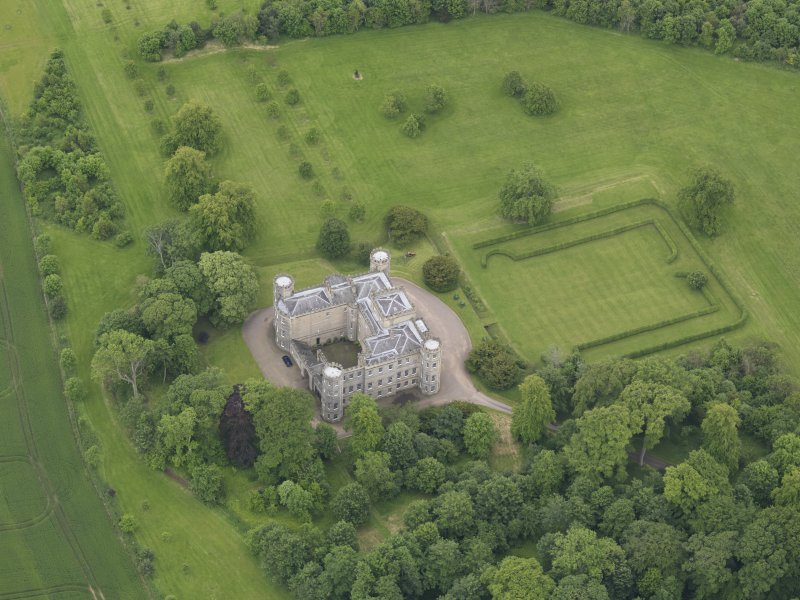 Oblique aerial view of Wedderburn Castle, taken from the NNW.
