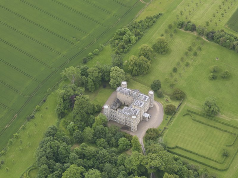 Oblique aerial view of Wedderburn Castle, taken from the WNW.