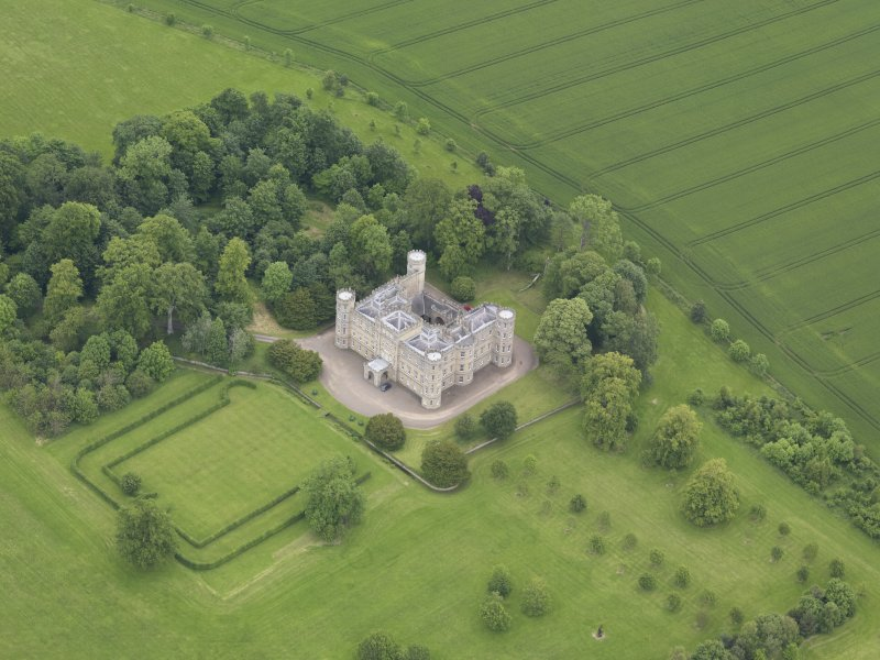 Oblique aerial view of Wedderburn Castle, taken from the SSE.