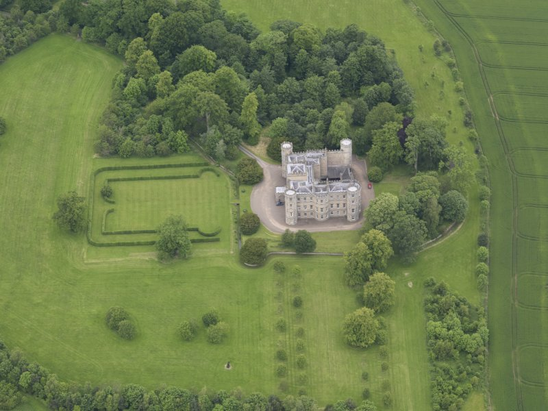 Oblique aerial view of Wedderburn Castle, taken from the SE.