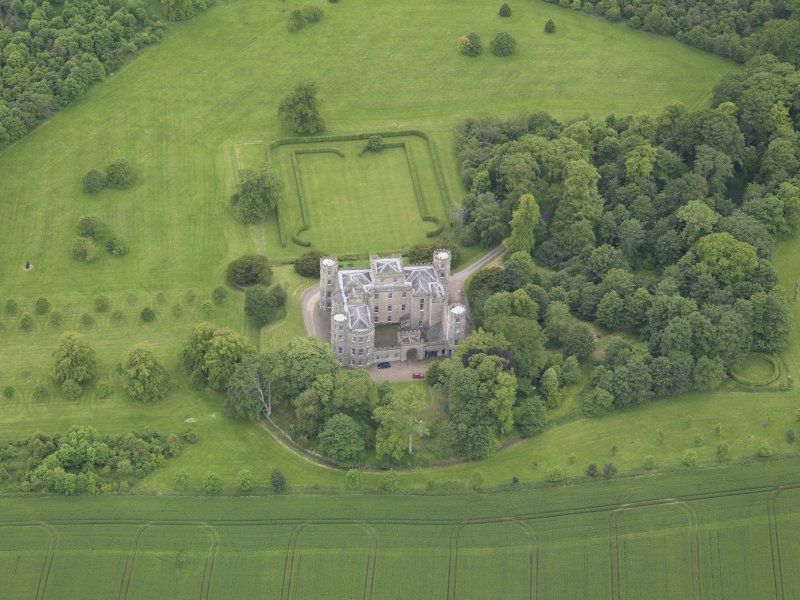 Oblique aerial view of Wedderburn Castle, taken from the E.