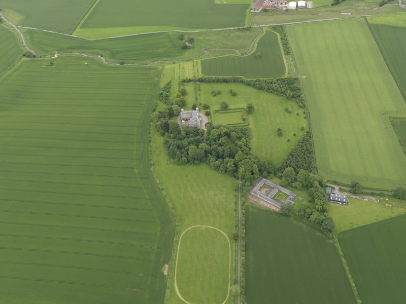 General oblique aerial view of Wedderburn Castle, taken from the NW.