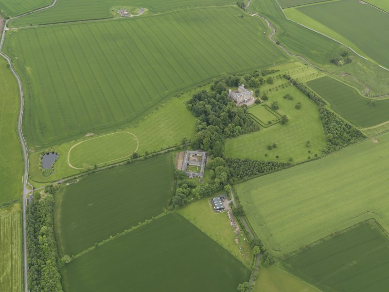 General oblique aerial view of Wedderburn Castle, taken from the W.
