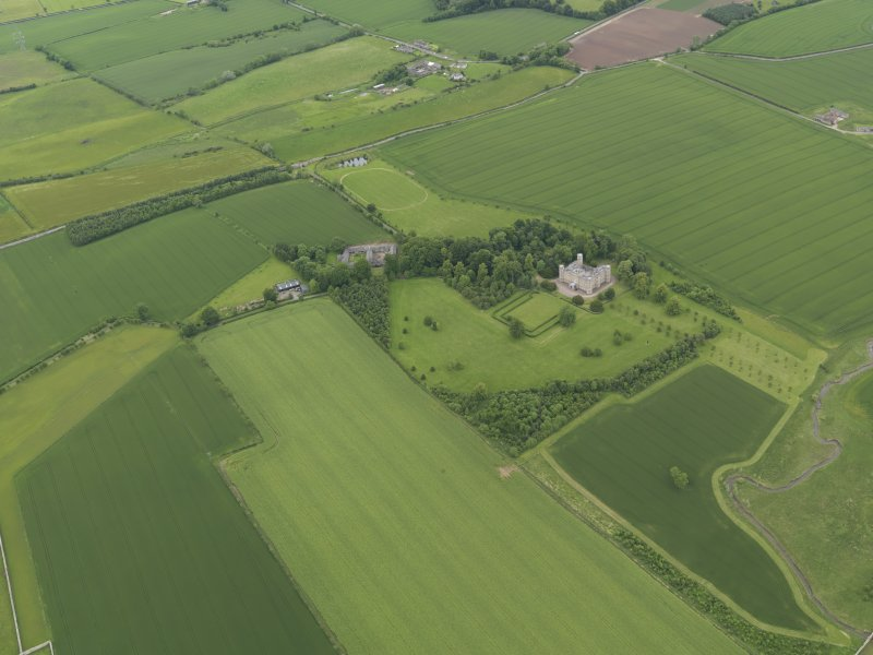General oblique aerial view of Wedderburn Castle, taken from the S.