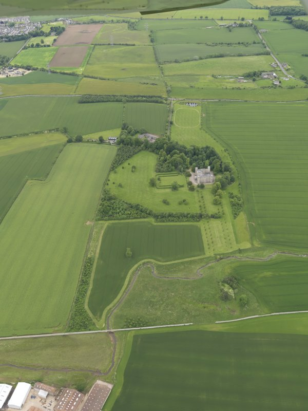 General oblique aerial view of Wedderburn Castle, taken from the SSE.