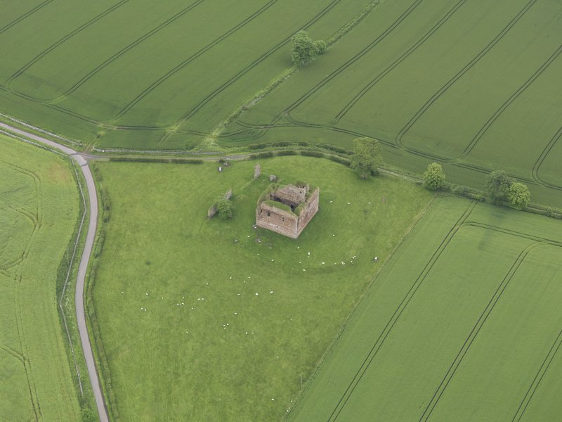 Oblique aerial view of Cessford Castle, taken from the W.