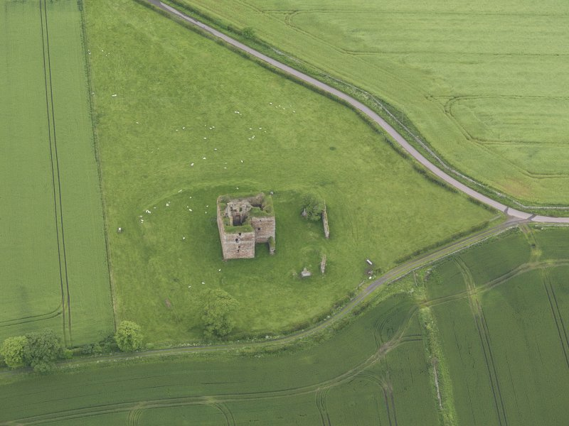 Oblique aerial view of Cessford Castle, taken from the ESE.