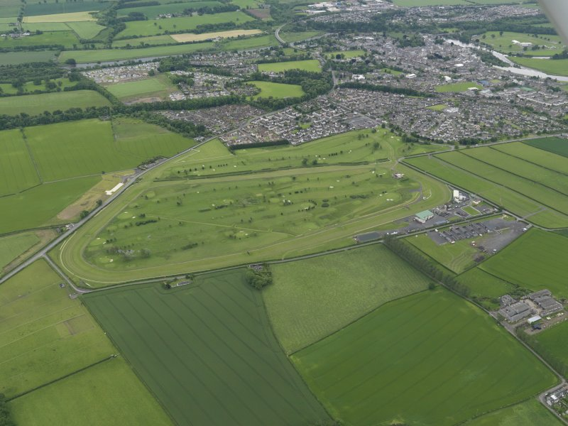 Oblique aerial view of Kelso Race Course and Golf Course, taken from the NW.