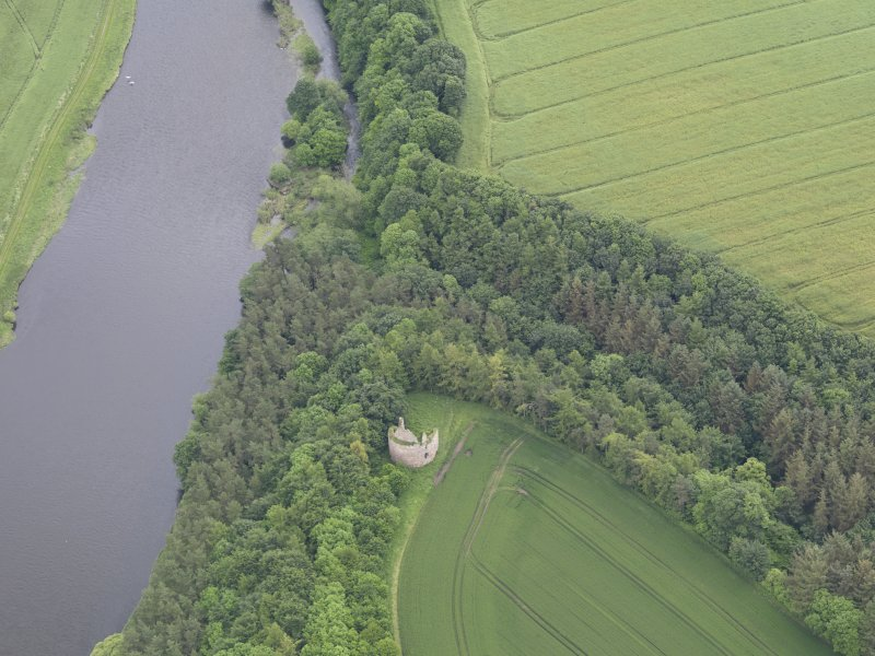 Oblique aerial view of Littledean Tower, taken from the W.