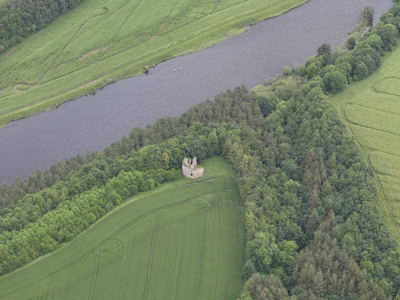Oblique aerial view of Littledean Tower, taken from the SW.