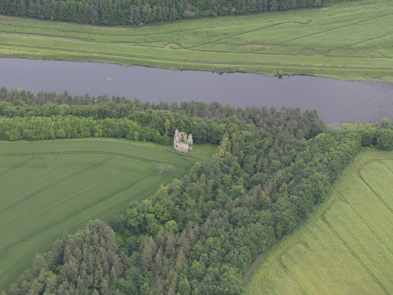 Oblique aerial view of Littledean Tower, taken from the S.