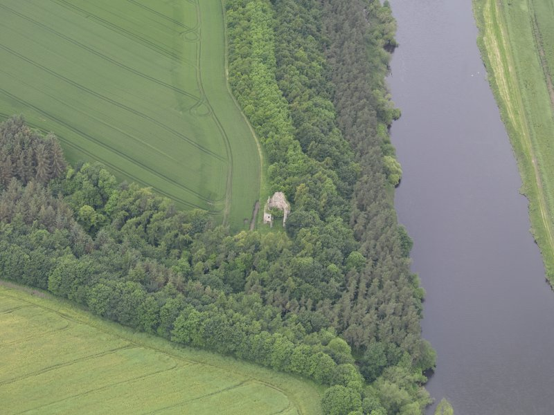 Oblique aerial view of Littledean Tower, taken from the E.