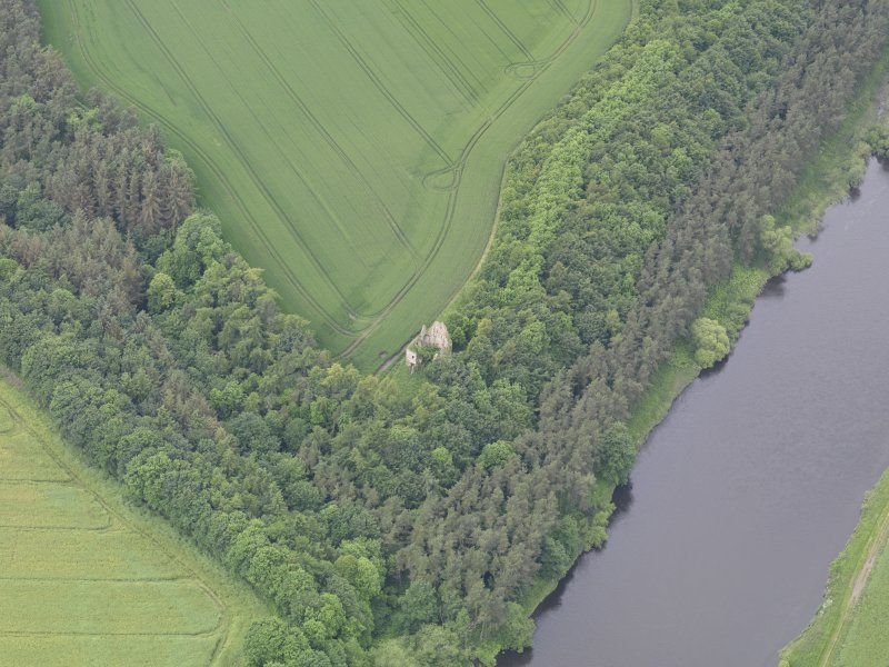 Oblique aerial view of Littledean Tower, taken from the ENE.