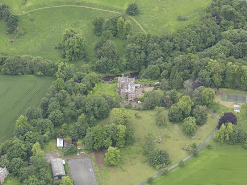 Oblique aerial view of Cowdenknowes House, taken from the NE.