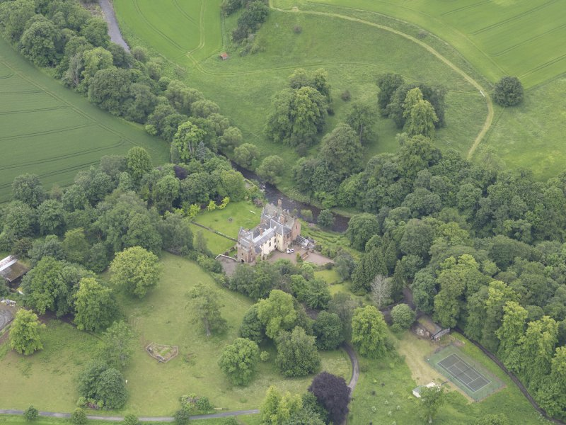 Oblique aerial view of Cowdenknowes House, taken from the NNE.