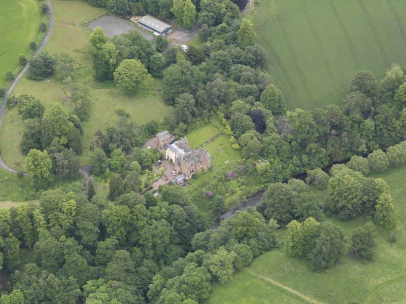 Oblique aerial view of Cowdenknowes House, taken from the W.