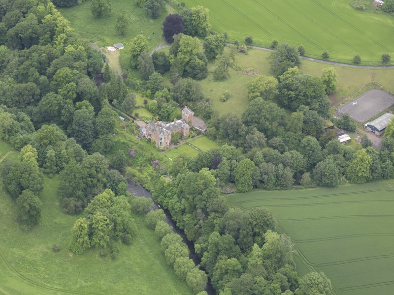 Oblique aerial view of Cowdenknowes House, taken from the S.