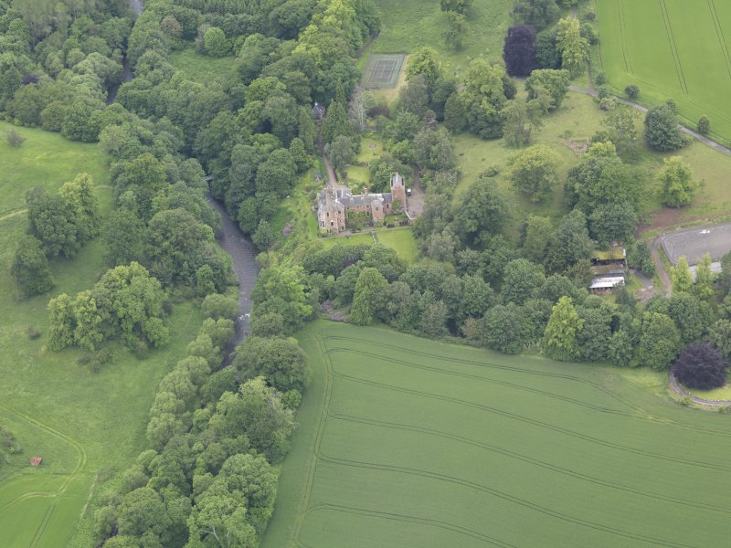 Oblique aerial view of Cowdenknowes House, taken from the SE.