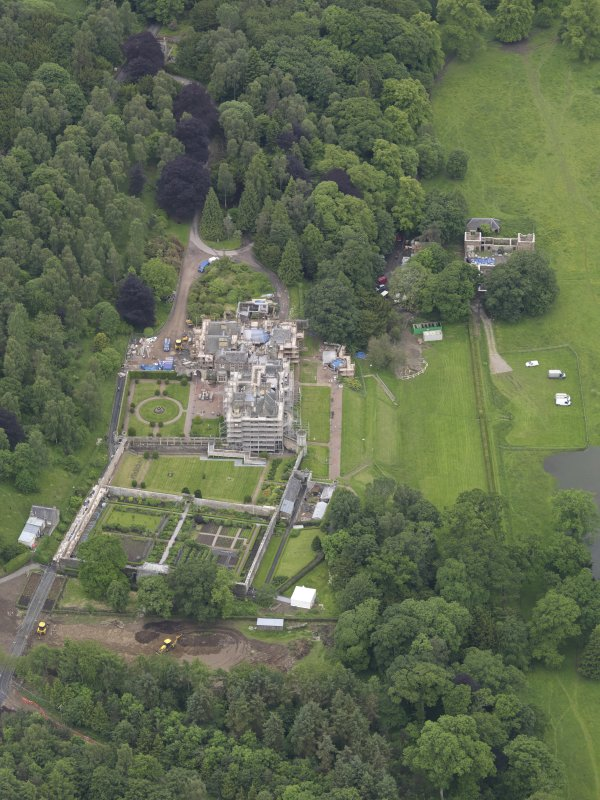 Oblique aerial view of Abbotsford House, taken from the NE.