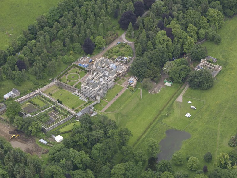 Oblique aerial view of Abbotsford House, taken from the N.