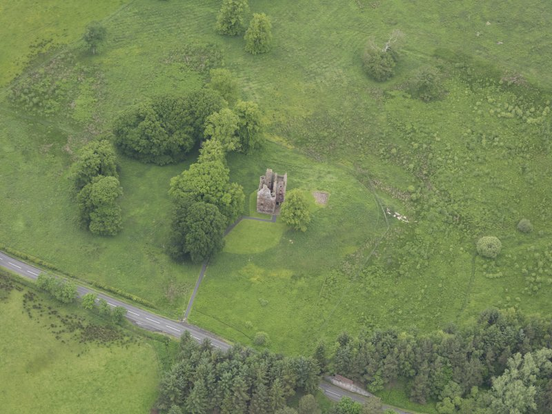 Oblique aerial view of Greenknowe Tower, taken from the SSE.