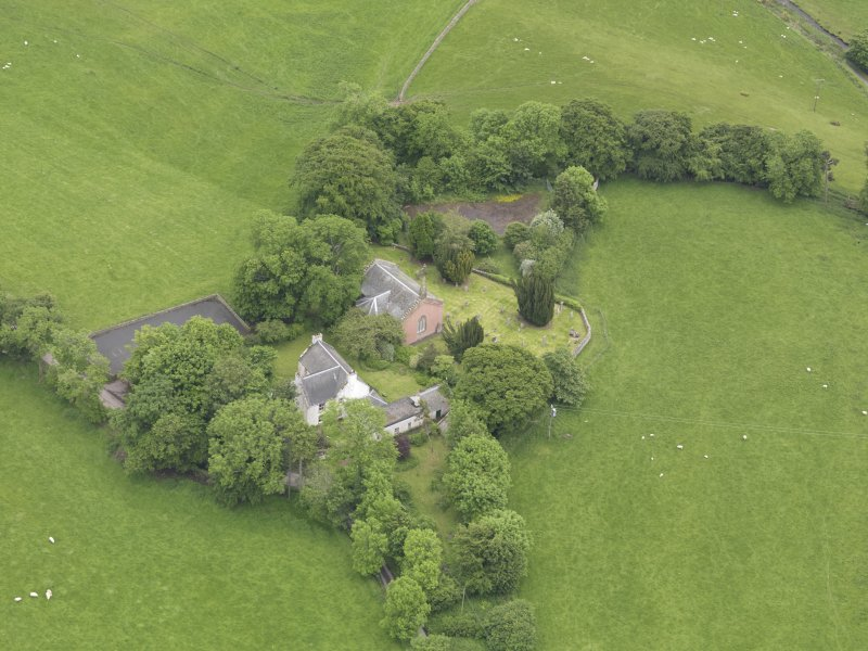 Oblique aerial view of Channelkirk Church, taken from the SW.