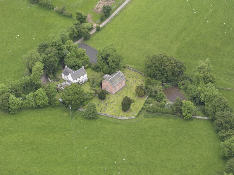 Oblique aerial view of Channelkirk Church, taken from the S.