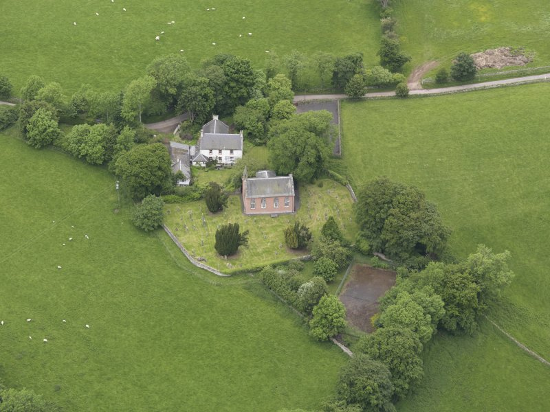 Oblique aerial view of Channelkirk Church, taken from the SSE.