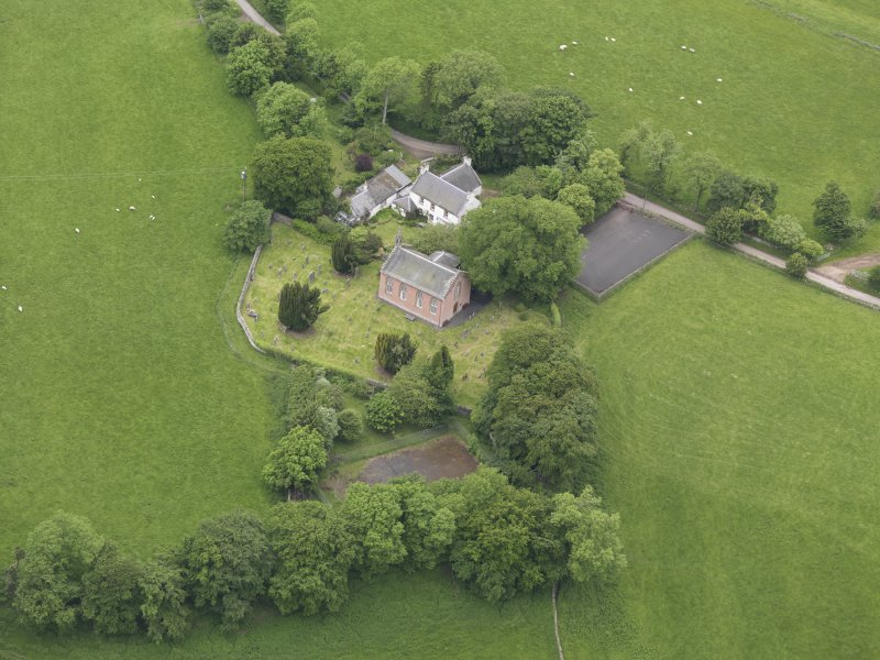Oblique aerial view of Channelkirk Church, taken from the SE.