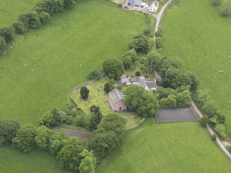 Oblique aerial view of Channelkirk Church, taken from the E.