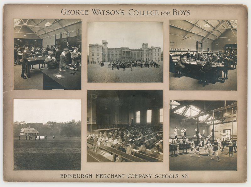 Six mounted photographs showing interior and exterior views of George Watson's College for Boys, Edinburgh. Building since demolished. Titled: 'George Watson's College for Boys. Edinburgh Merchant Company Schools No1'.