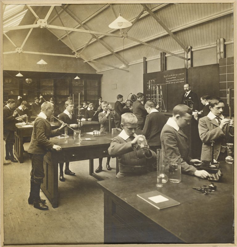 Interior view of George Watson's College for Boys, Edinburgh showing laboratory room.  Titled: 'George Watson's College for Boys. Edinburgh Merchant Company Schools No1'.