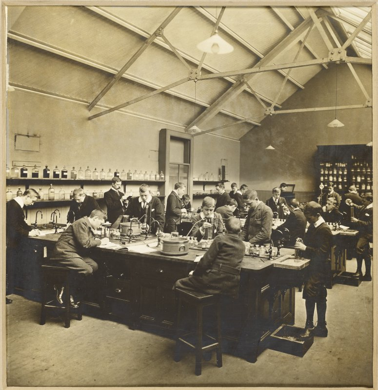 Interior view of George Watson's College for Boys, Edinburgh showing laboratory room. Building since demolished.  Titled: 'George Watson's College for Boys. Edinburgh Merchant Company Schools No1'.