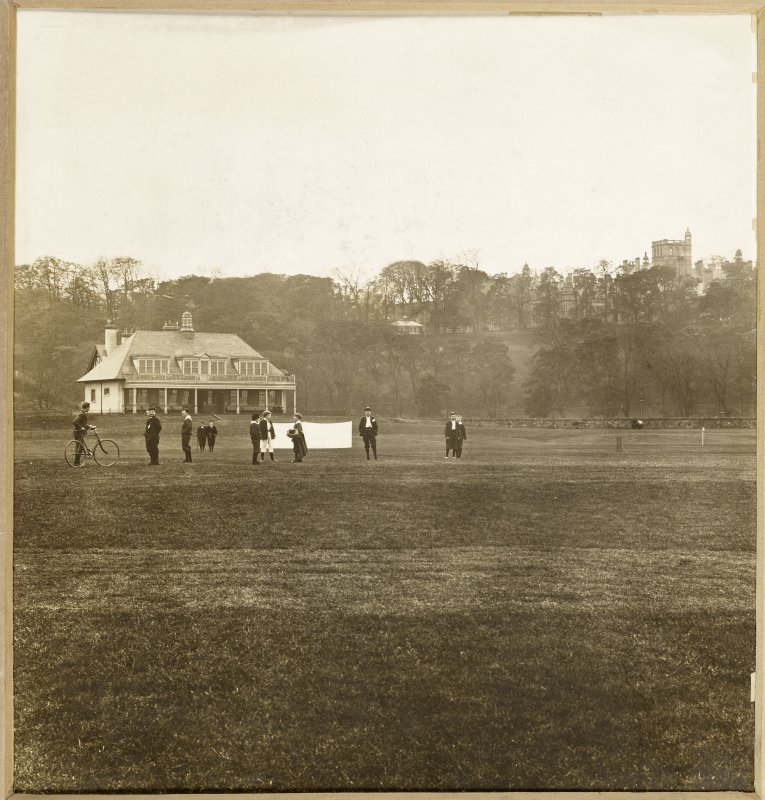 View of playing field and building at George Watson's College for Boys, Edinburgh.  Titled: 'George Watson's College for Boys. Edinburgh Merchant Company Schools No1'.