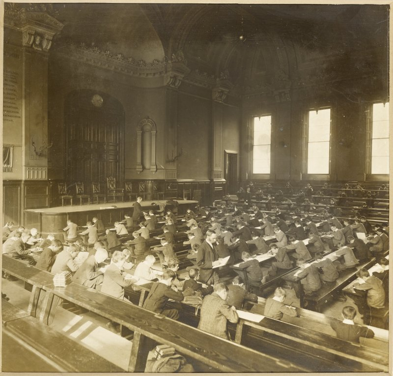 Interior view of George Watson's College for Boys, Edinburgh showing class room.  Titled: 'George Watson's College for Boys. Edinburgh Merchant Company Schools No1'.